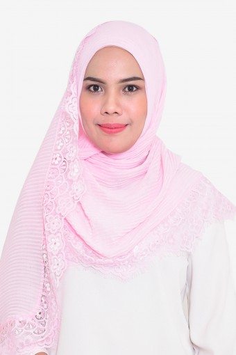 Pleated Plain Chiffon Shawl With Lace